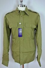 RALPH LAUREN PURPLE LABEL Tailored Fit Shirt Olive LARGE Made in Italy NWT
