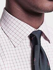 THOMAS PINK Mens 'MOLYNEUX' Check DOUBLE-CUFF White/Purple DRESS SHIRT 15.5 / 39