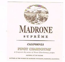 1930s California MADRONE SUPERME PINOT CHARDONNAY WINE label