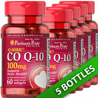 Puritan's Pride CoQ10 CO Q-10, CoQ-10,100 mg 5X60 Softgels USA Q-Sorb Co-enzyme