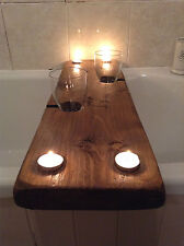 Vin et Bain A bath shelf with wine glass and tealight recesses