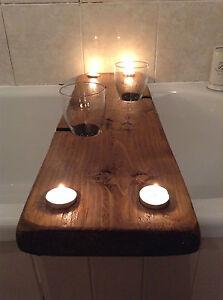 Vin et Bain A bath shelf with wine glass and tealight recesses