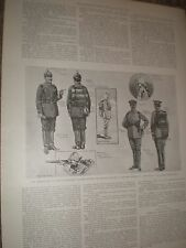 Germany military service uniform 1901 old prints and article ref AY