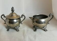 Beautiful Vintage Heavy Silver Plated Sugar Bowl and Milk Jug