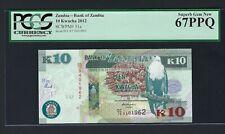 Zambia 10 Kwacha 2012 P51a Uncirculated Graded 67