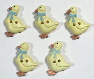 """Vtg JHB International Realistic Novelty Plastic Resin BUTTONS Blue Bow Ducks 1"""""""