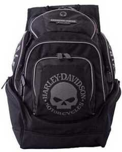 Harley-Davidson Men's Willie G Skull Six Pocket Backpack BP1924S-BLACK