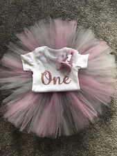 Girls First 1st Birthday Grey & Pink Cake Smash Tutu Outfit Photo Shoot