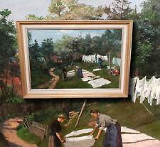 Die Rasenbleiche original antikes Ölgemälde Impressionist Umkreis MAX LIEBERMANN