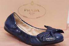 PRADA BOW SCRUNCHY LEATHER BALLET FLAT BLUE SHOES 36/6 $420