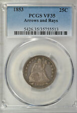 1853 Seated quarter, Arrows and Rays, PCGS VF35
