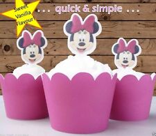 #564. Minnie Mouse face edible wafer cupcake cake toppers pink birthday