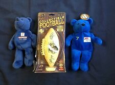 Vintage John Elway Collectible Miniature Football & 2 Bears Denver Broncos #7
