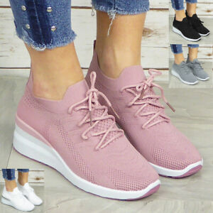 Ladies Sock Trainers Shoes Womens Wedge Sneakers Lace Up Pumps Comfy Casual Size