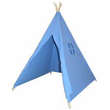 Blue Cotton Canvas Teepee Indian Tent Indoor Kids Play House Child Playhouse