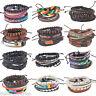 1Set Herren Damen Handmade Lederarmband Wickelarmband Armband Armkette Holz Holz