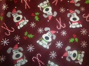 Holiday Dogs on Burgundy Cotton Fabric a standard handcrafted pillowcase