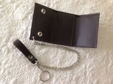 USA MADE - Trifold Trucker Biker Chain - BROWN - Cowhide Thick Leather Wallet