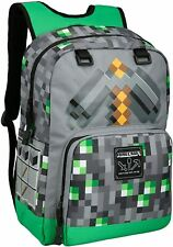 "Authentic MINECRAFT 17"" Emerald Survivalist Kids School Backpack Green NEW"