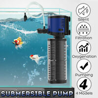 220V 500-2500L/h Aquarium Internal Filter Oxygen Submersible Water Pump Tank