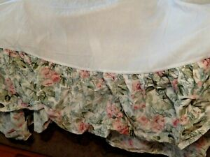 Laura Ashley Cottage Rose Floral Shabby Chic Queen Bed Skirt/Dust Ruffle w/2 Sha