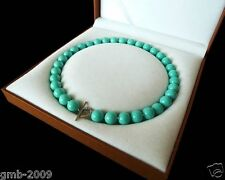 "10mm Natural Turquoise Blue South Sea Shell Pearl Heart Clasp Necklace 18"" AAA+"