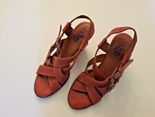 Indigo by Clarks Womens Leather Sandles Sz 7.5 Block Heel Strap Shoes Red/Brown
