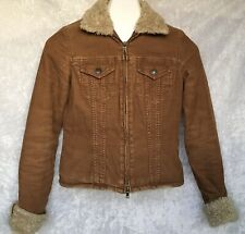 Abercrombie And Fitch Faux Fur Quilted Corduroy Jacket Full Zip Brown Size XS