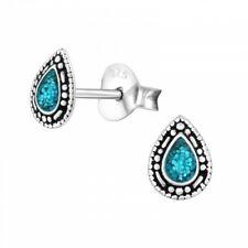 925 Sterling Silver Blue Teardrop Ethnic Stud Earrings Boho Bali Hippy Gift Box