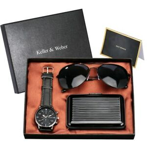 Modern Gift Set Men's Quartz Wrist Watch Leather Band With Sunglass Credit Case