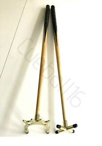 """2 x 36"""" 1 PIECE POOL or SNOOKER CUES With BRASS CROSS & BRIDGE RESTS For TABLES"""