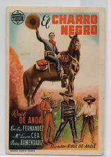 EL CHARRO NEGRO  PROGRAMA DE MANO CINE RAUL DE ANDA - ARTURO FERNANDEZ Ref:Pc131