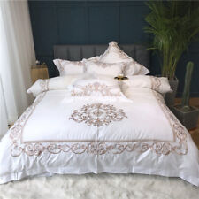 Bedding set 4 Pieces Embroidery cotton duvet cover bed sheet 2 pillowcase white