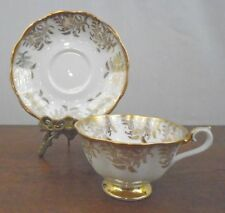 Royal Albert  Bone China England Tea Cup and Saucer Gold Feather Leaf