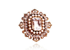 Bronze White Middle Crystal Pearls Luxury Vintage Style Women Brooch Pin BR478