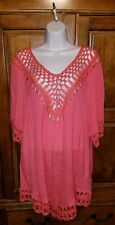 NEW Chelsea Theodore Womens Plus Size 3X Coral Orange Crochet Boho Top $74