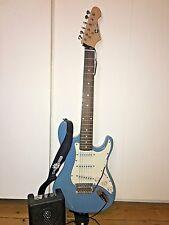 LA Blue Gear4Music Electric Guitar + Mini CM-4 Amp