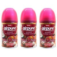 3 X AIRPURE AIR FRESHNER AUTOMATIC SPRAY REFILLS 250ML MULLED WINE CHRISTMAS