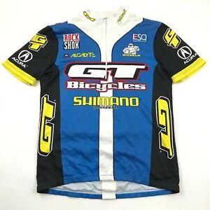VINTAGE GT Bicycles Jersey Size Medium Cycling Shirt Blue 1/4 Zip Shimano 90's