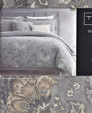 Tahari 3 pc Duvet Cover Set Queen Jacobean Floral Grey Charcoal Khaki _ New