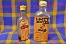 Pair of Vtg Liniment Bottles-SLOAN'S 1940 Bottle (2/3Full) Embossed&Watkins 1 oz