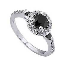 Genuine Black and White Diamond Ring 14k White Gold over 925 SS Size 7 Gift Box