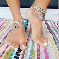 Retro Silver Gypsy Boho Turkish Festival Beach Coin Bracelet Anklet Arm Cuff