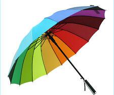 New Windproof Rainbow Umbrella Sun Rain Parasol Wedding Party Decor Multicolour