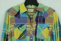 Denim & Supply Ralph Lauren Mens M Super Colorful Plaid Shirt Pearl Snap Western