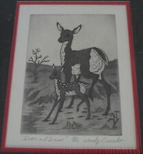 """Woody Crumbo Native Potowatomi limited edition, signed """"Deer and snow"""" etching"""