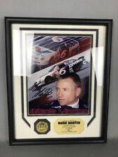 "Mark Martin Autographed Photo And 24Kt Gold Overlay Medallion COA 15""x12"""