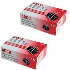 ACCO 24 LARGE Binder Clips Paper Metal Pack Box Dozen 2-Inch Office File Desk ##