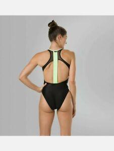 Speedo Reflect Wave Swimsuit SIZE:S BLACK / BRIGHT ZEST / WHITE ]