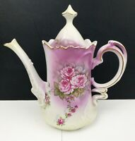 "Lefton Heavenly Rose Tea/Coffee Pot Pinks and Purples Flowers 9"" Tall"